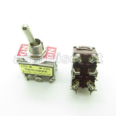 Heavy Duty Toggle Switch DPDT 6 Screw Terminal ON-ON 2 Position 12mm 15A 250V