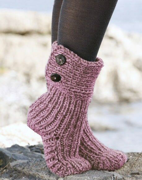Knitting Pattern Aran Chunky Boot Slippers Socks Ebay