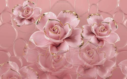 VLIES Fototapete-ABSTRAKT DESIGN- 2238V -Blumen Rosen Gold Luxus Rosa Luxus xxl