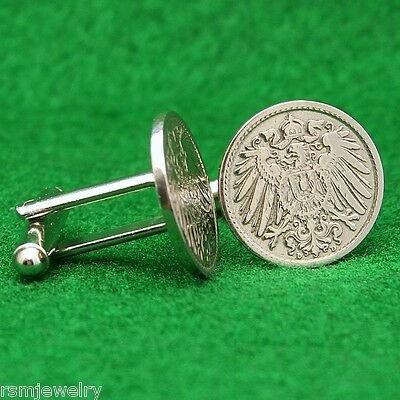 Antique 1890-1915 Imperial German Eagle Shield Germany Empire Coin Cufflinks!
