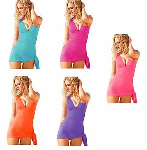 Ladies-Fashion-Summer-Beach-Swimming-Costume-Swimsuit-Dress-Halter-8-10-12-14