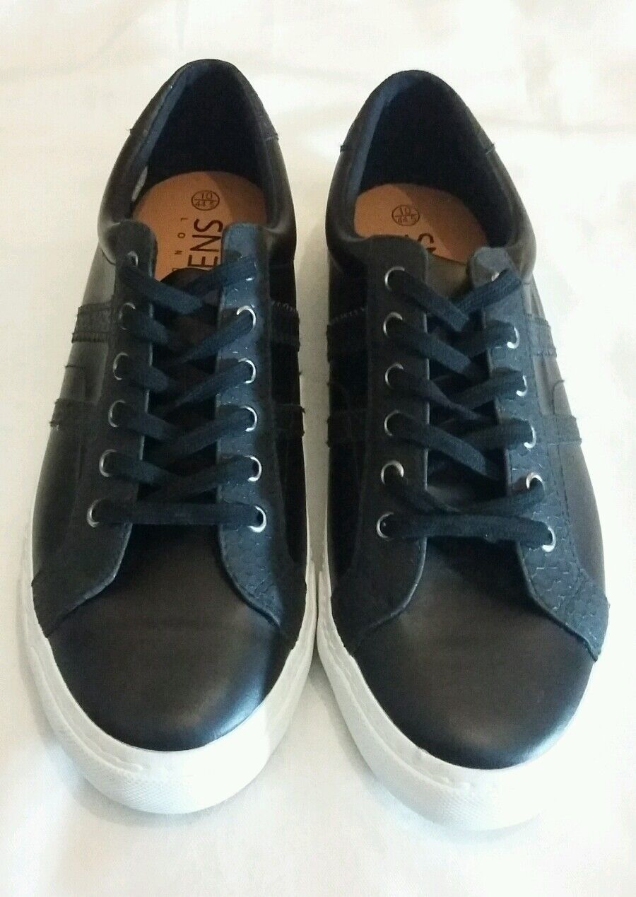SNEAK LONDON Leather Embossed Lace-up Sneakers shoes Black Size uk 10.5 eu 44.5