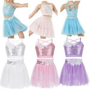 Kids-Girls-Figure-Ice-Skating-Dress-Sequin-Twirling-Dance-Dress-Costume-2PCS-Set
