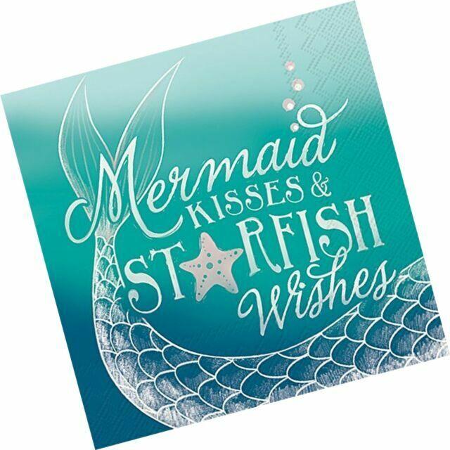 Set of 20 napkins Mermaid Birthday Mermaid Kisses and Starfish Wishes Cocktail Napkins