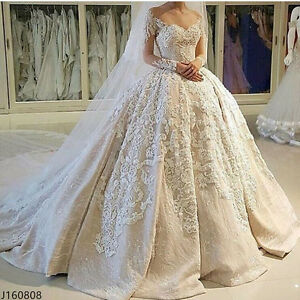Image Is Loading White Ivory Wedding Dresses Lace Sweetheart Cathedral Bridal