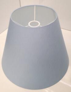 Lampenschirm-fuer-Haengeleuchte-Stehlampe-aus-Baumwolle-Blau-40-cm-E27-konisch