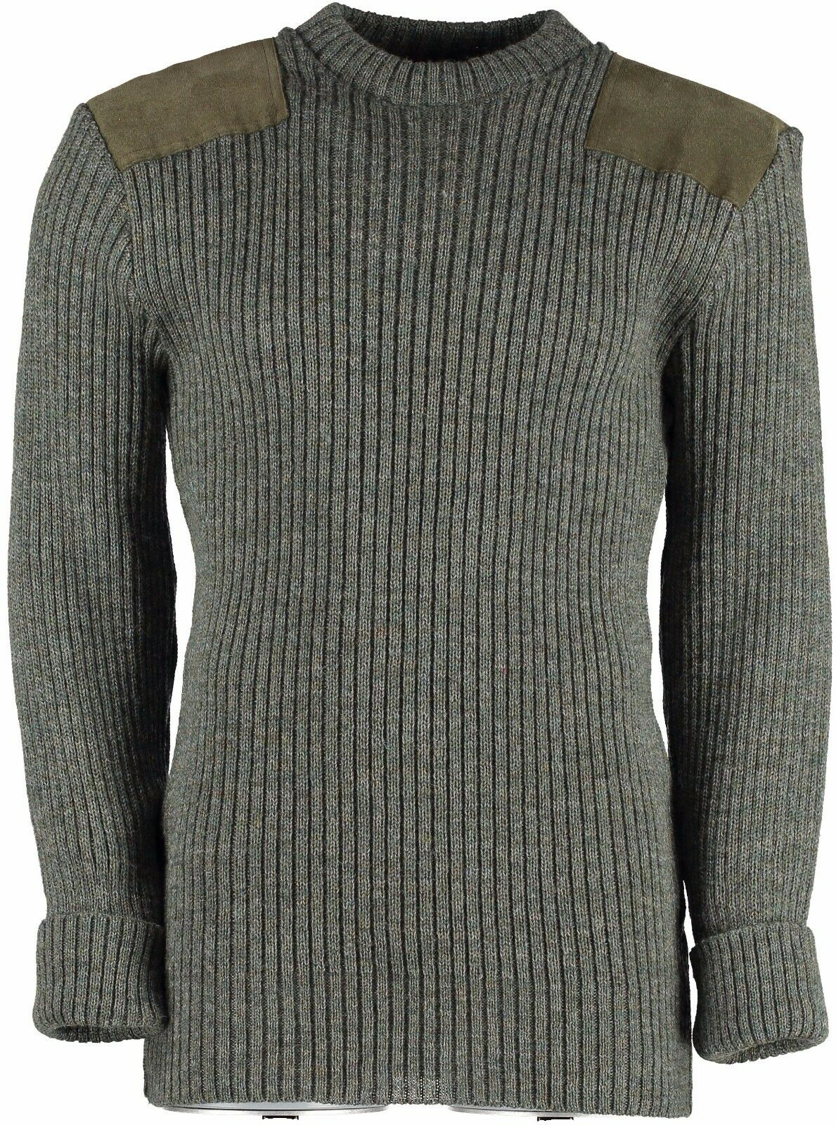100% WOOL NATO/ARMY STYLE JUMPER. SUEDE PATCHES,OUTDOOR,UNIFORM,SECURITY.  09995