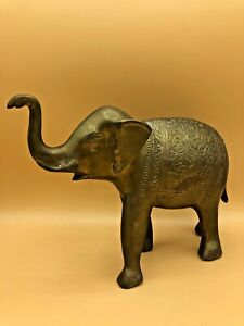 Vintage-Bronze-Elephant-Made-in-India-10-5-034-Long-7-034-High