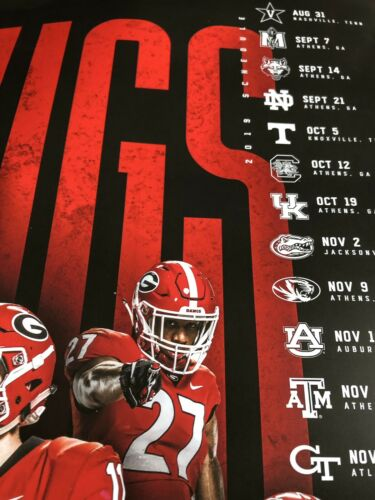 2 Total University Of Georgia Football Official 2019 Season Schedule Poster Lot