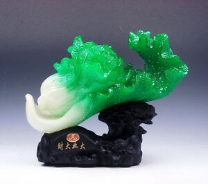 Gorgeous-Jade-Crafted-Feng-Shui-Sculpture-LARGE-Cabbage-w-Tree-Log-Shaped-Base