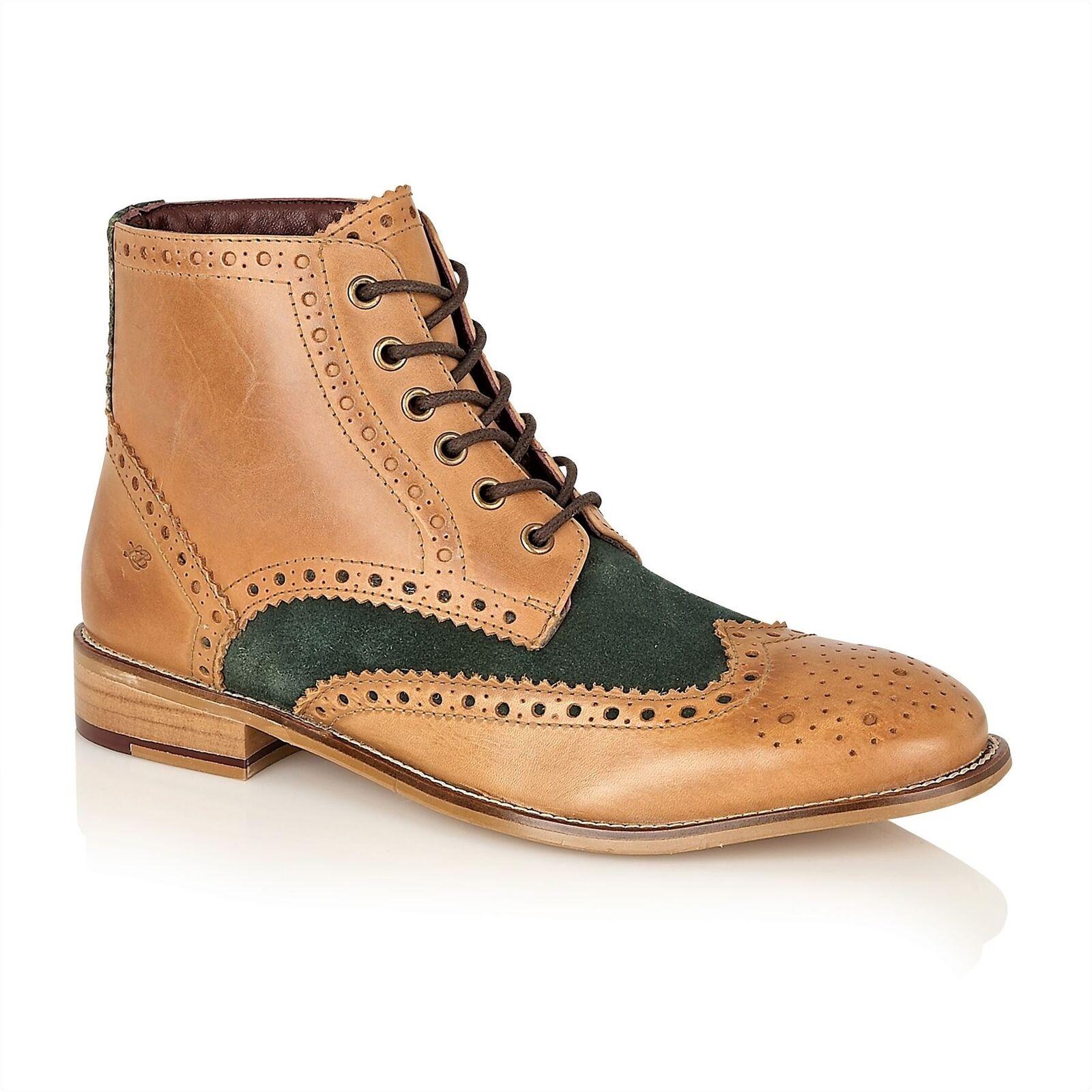 London Brogues Gatsby HI Lace  Up Formal Mens Leather stivali Tan   verde  acquisto limitato