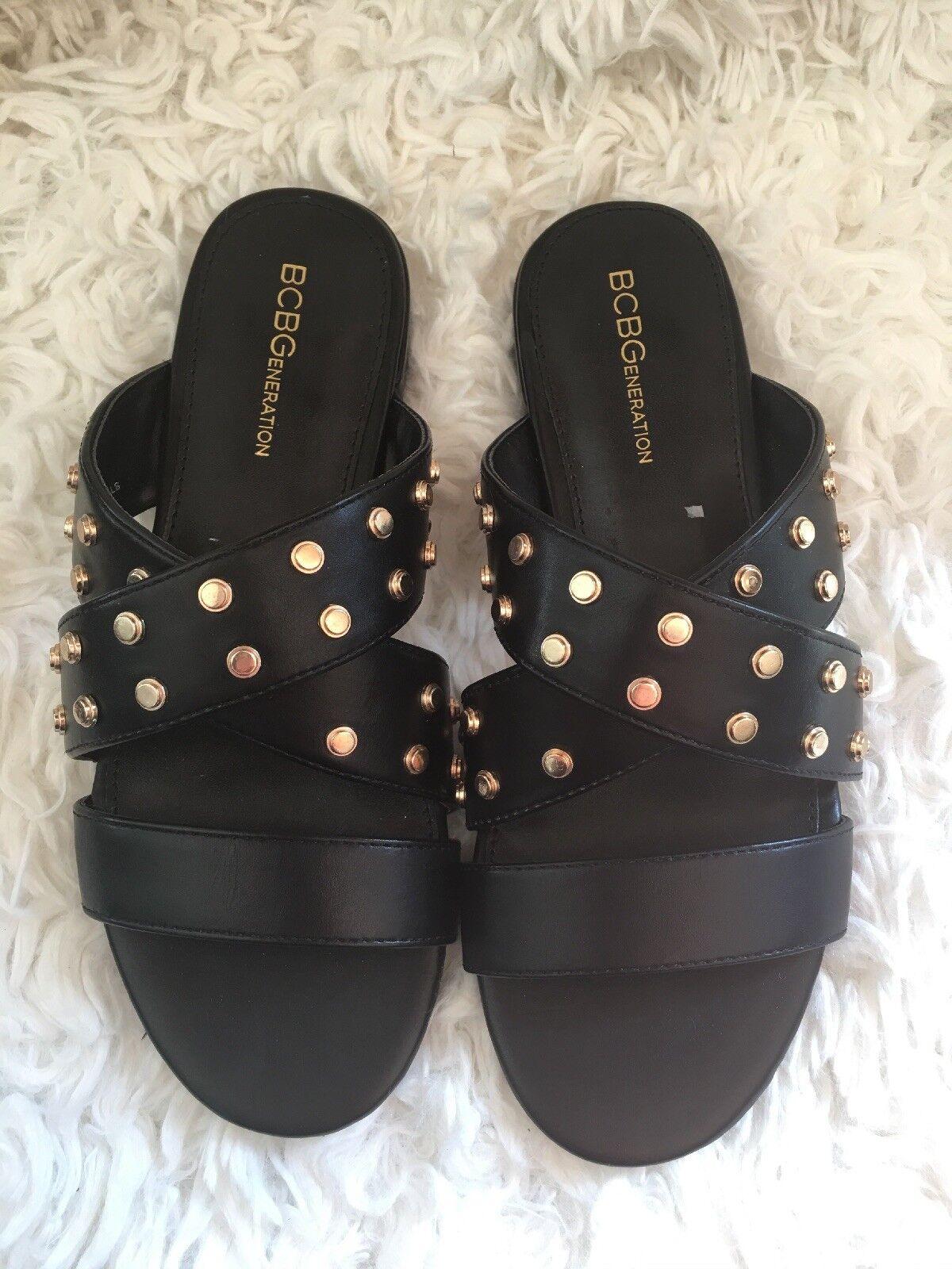 BCBGeneration Womens Dana Studded Black Sandals Size 7 b