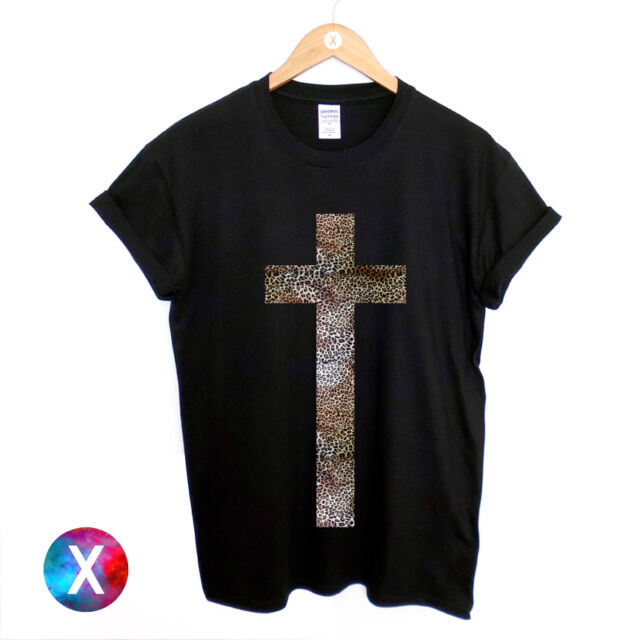 CROSS PRINTED BLACK T SHIRT MENS LEOPARD PRINTED HIPSTER TEE RELIGION SWAG TOP