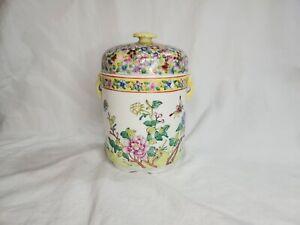 STUNNING! Hand Painted Hong Kong LARGE SPICE jar!! MINT VTG. BUTTERFLIES