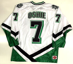 Image is loading TJ-OSHIE-NORTH-DAKOTA-FIGHTING-SIOUX-WHITE-JERSEY- 87be4d79076