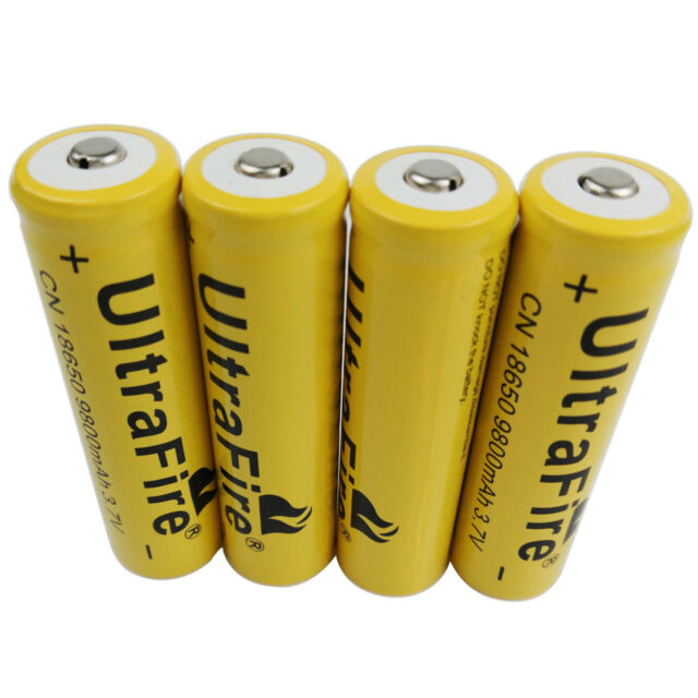 4 X 3.7V 18650 Batteries 9800mAh Li-ion Rechargeable Battery Flashlight
