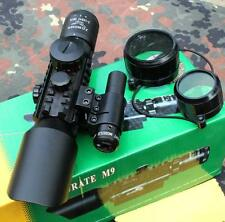 Accurate 3-10x42 Compact Rifle Scope+red laser, R/G Illum. Mil-Dot Reticle