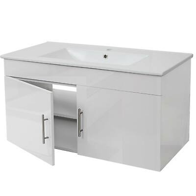 hochglanz 90cm grau Waschbecken Waschtisch Unterschrank MCW-D16