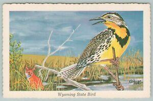 Wyoming-State-Bird-Western-Meadowlark-Spied-By-Red-Fox-1968-Artist-Ken-Haag