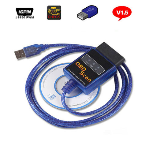 Vgate ELM327 V1.5 OBDII OBD2 USB CAN Bus Diagnostic Auto Car Scanner Tool Cable