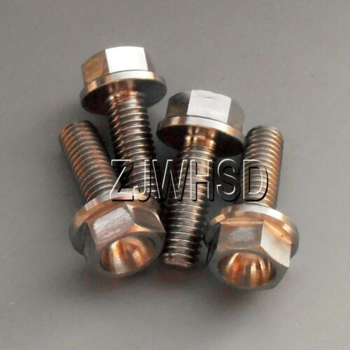 Aerospace Grade 4pcs M5 x 15 Titanium Ti Screw Bolt Hexagon Hex Head Flange
