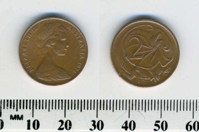 Australia 1974 - 2 Cents Bronze Coin - Q. Elizabeth II - Frill-necked lizard