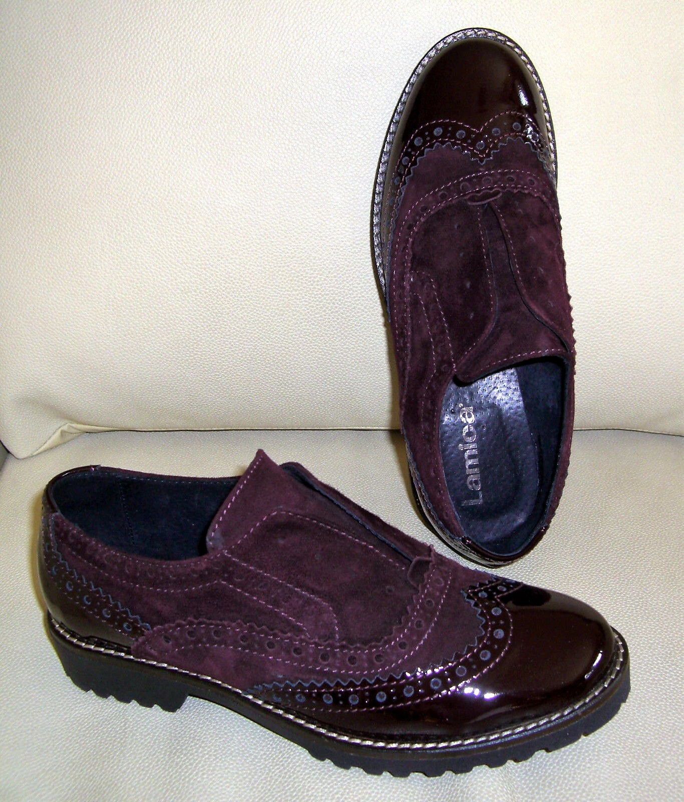 Zapatos promocionales para hombres y mujeres LAMICA Schuhe BROGUES Leder Gr. 36 Loafer Halbschuhe bordeaux weinrot rot w. NEU