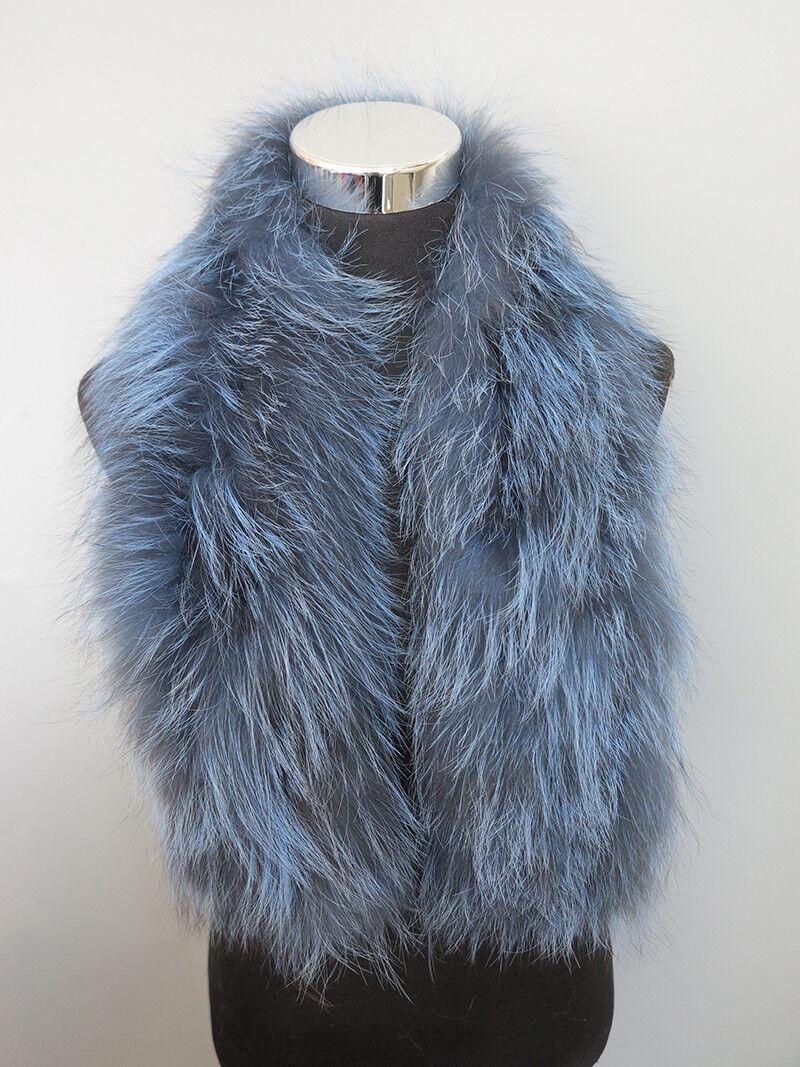 Braid 100% real fox fur scarf /cape/ collar / wrap blue