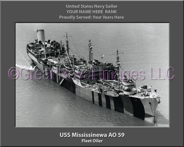 USS Mississinewa AO 59 Personalized Canvas Ship Photo Print Navy Veteran Gift
