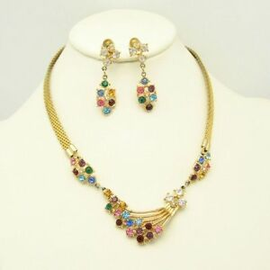 Vintage-Retro-Necklace-Earrings-Set-Gold-Plated-Mesh-Red-Blue-Rhinestones-Lovely