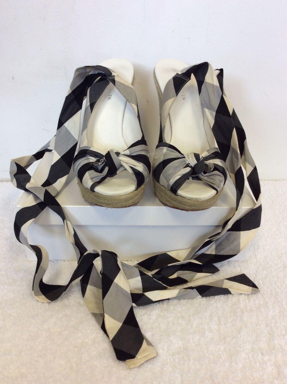 KAREN MILLEN COTTON BLACK & WHITE CHECK COTTON MILLEN TIE LEG WEDGE HEEL SANDALS SIZE 6 / 39 98d153