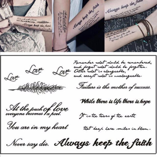 Removable Temporary Tattoo English Word Body Art Tattoos Sticker ...