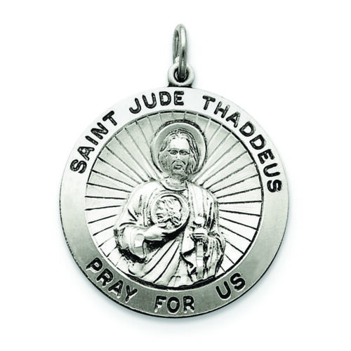 .925 Sterling Silver St Jude Thaddeus Medal Charm Pendant MSRP $102