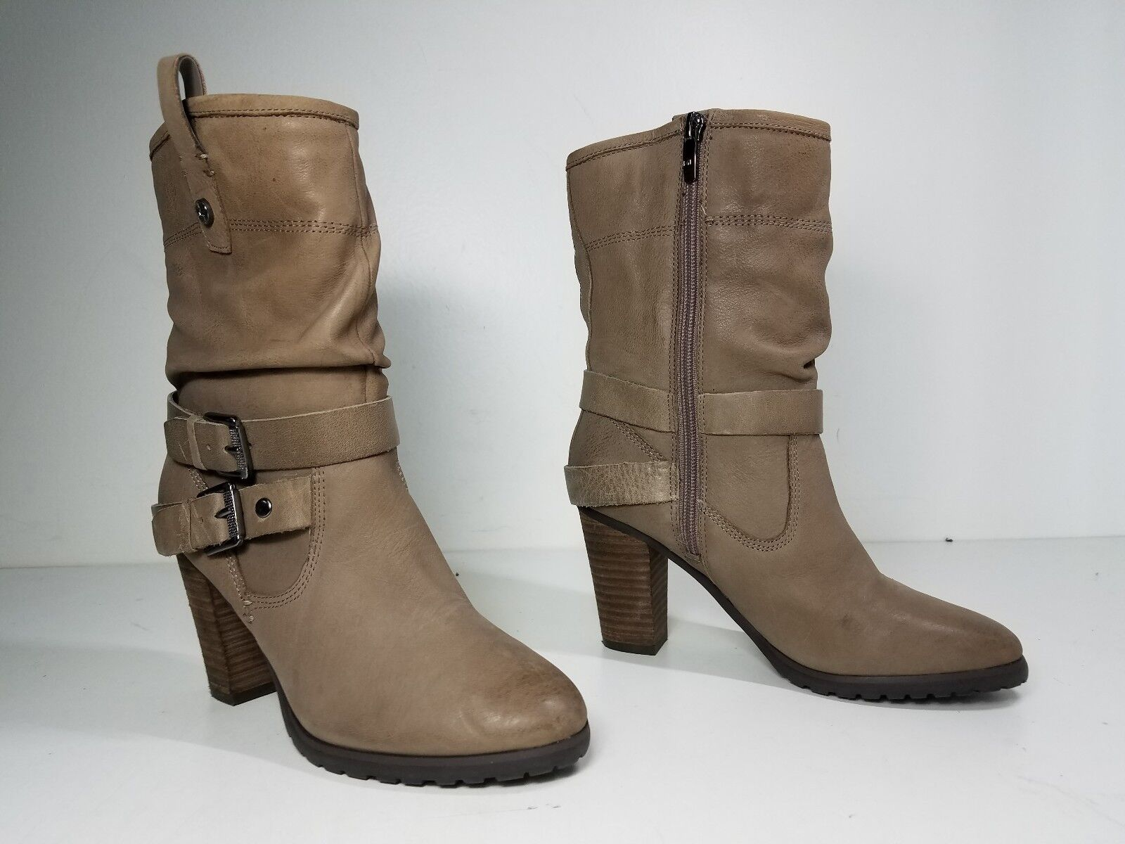 9 size 5.5 Marc Fisher Famous Natural Leather Heels Mid Calf Womens Boots