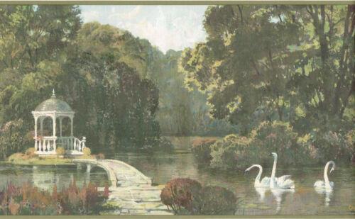 Swans Lake Park Scene Scenic Gazebo Bridge Green Wall paper Border RHB52026