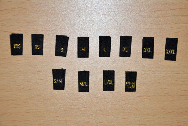 100 Gold Clothing Garment Sizes Woven Labels - S, M, L, S/M, OSFA e.t.c