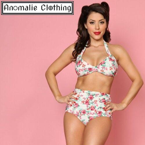 Bettie Page Romance Bikini Top White Floral Retro 1950s Inspired Swimwear