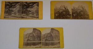 3 Antique Photograph Stereo Views of Scenes - 2 Ireland - 1 Scotland