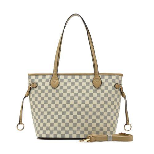 New Women Ladies Fashion Checked Tote Bag Leather Style Quality Shoulder Handbag