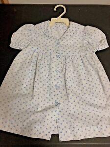 Vintage-Adorable-DRESS-Cotton-Calico-Blue-Flowers-Sailor-Back-Glass-Buttons