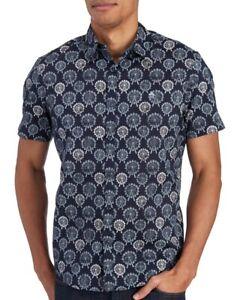 Penguin-by-Munsingwear-Blue-Ferris-Wheels-Slim-S-S-Button-Front-Shirt-NWT-Size-L