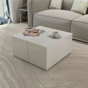 Image Is Loading Vidaxl Coffee Side Table High Gloss White Hidden
