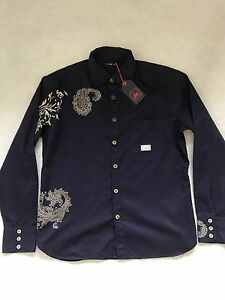 Camicia Motivo Manica Earrings Cachemire Smith Navy M Paul Con Rosso Lunga qHzXnxp