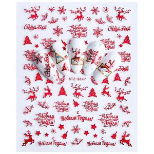 Nail-Art-Pegatinas-Navidad-feliz-Santa-Navidad-transferencias-Decoracion-Claus-Collection