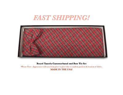 Classic Plaid Bow Tie and Cummerbund Set