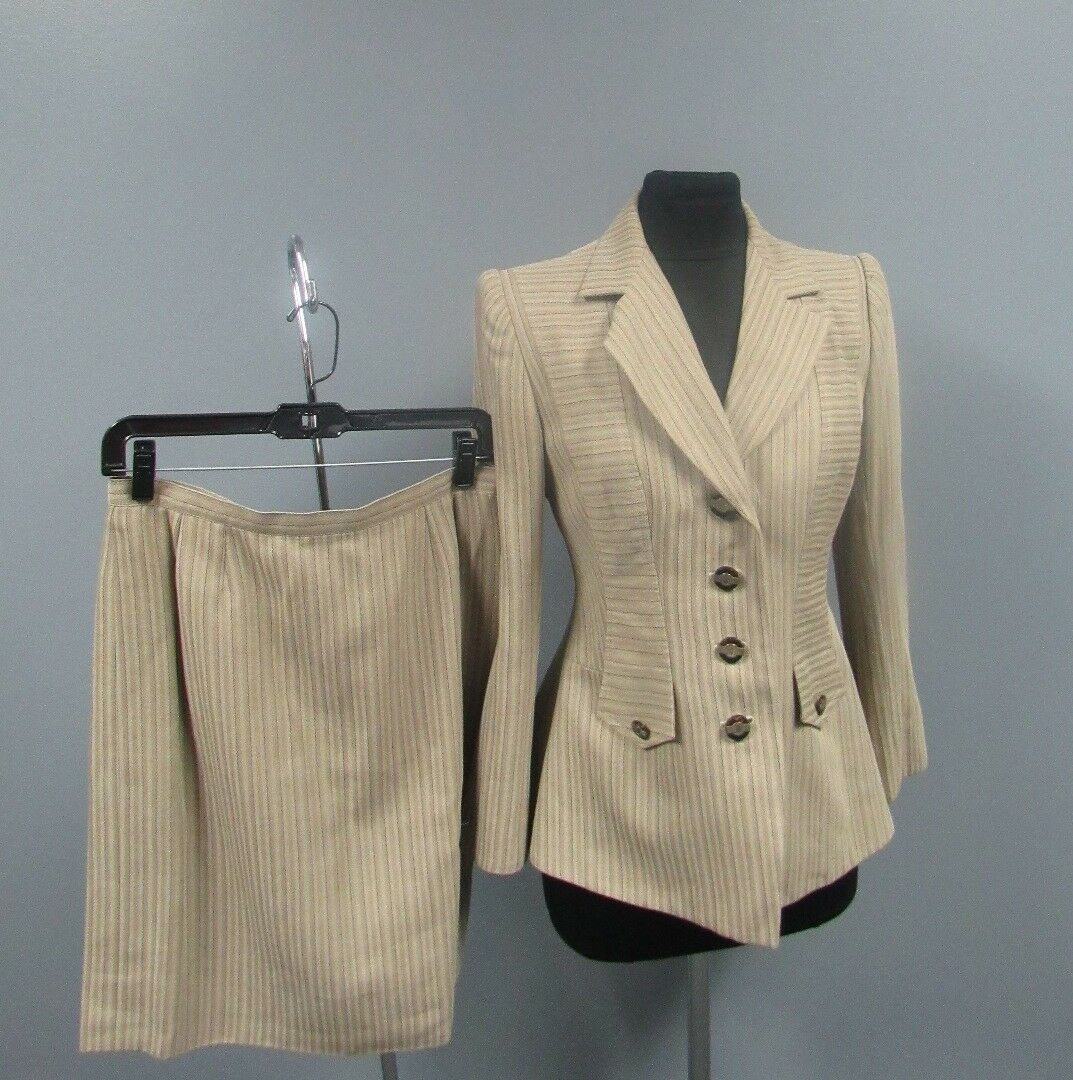 PALLANT LONDON Beige Brown Striped Lined Two Piece Skirt Suit Size 10 FF5487
