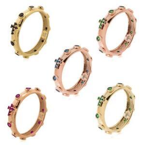 Anello-Rosario-AMEN-Argento-925-Croce-Rose-Gold-Pietre-Colorate-Verde-Blu-Nero
