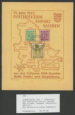 LiebenswüRdig Sbz Gedenkblatt 1945 Postdirektion Provinz Sachsen Sehr Dekorativ! U67 ZuverläSsige Leistung