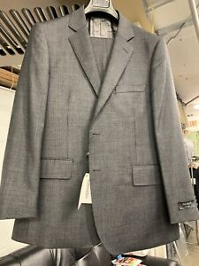 New-38R-Men-039-s-Grey-Check-Suit-Silk-Wool-Made-in-Italy-Retail-1295