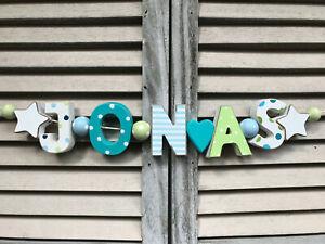 Details About Jonas Namenskette Kinderzimmer Holzbuchstaben Bunt Deko Junge Taufe Shabby